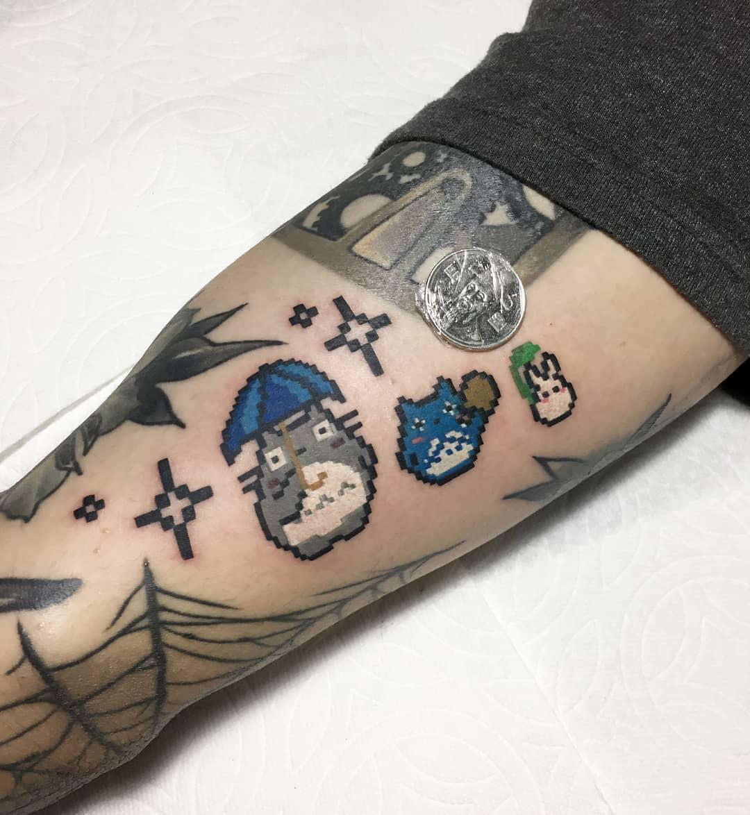 Pixel art totoro tattoo
