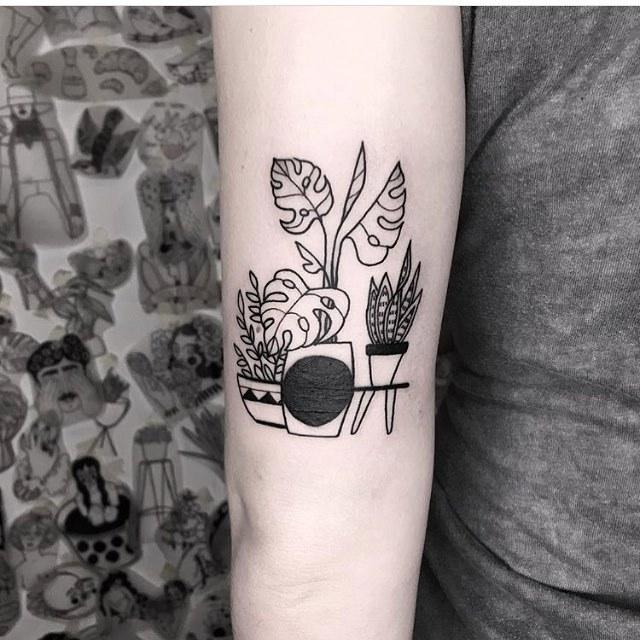 Plants in pots tattoo by dorca borca