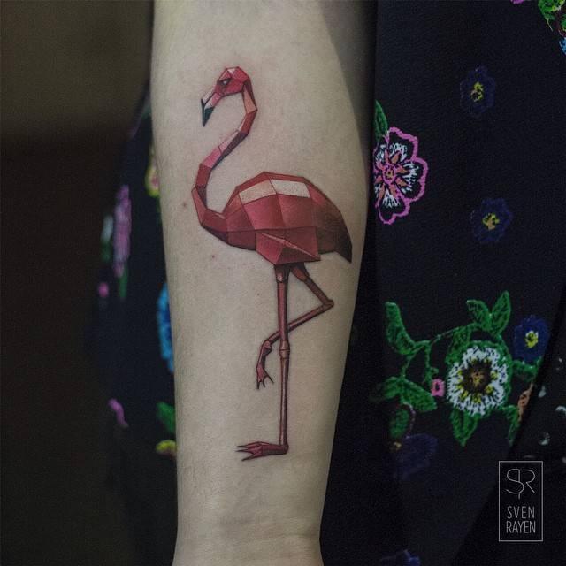 Polygonal flamingo tattoo