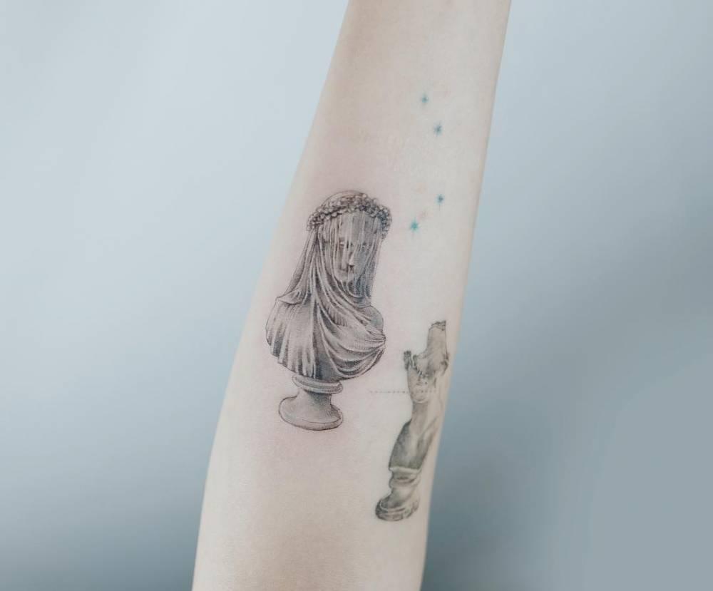 Raffaele monti the bride bust tattoo