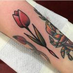 Red tulip tattoo by jeroen van dijk