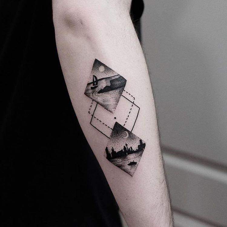 Rhombus landscape tattoos by jonas