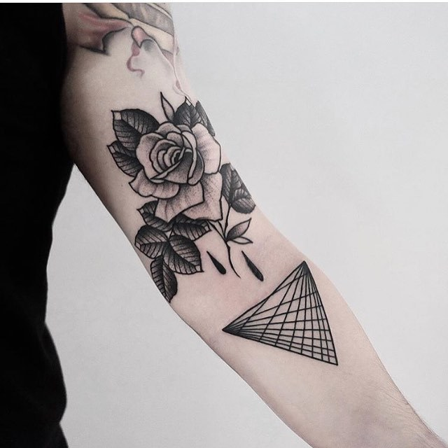 Rose and triangle tattoos by jonas