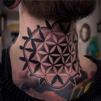 Sacred geometry pattern tattoo on the neck