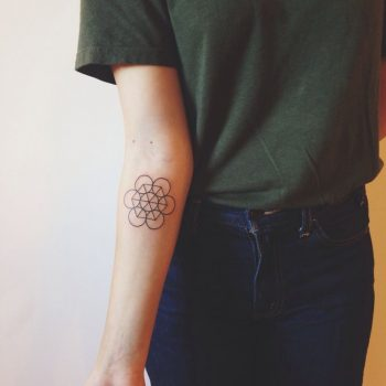 Seed of life tattoo on the forearm