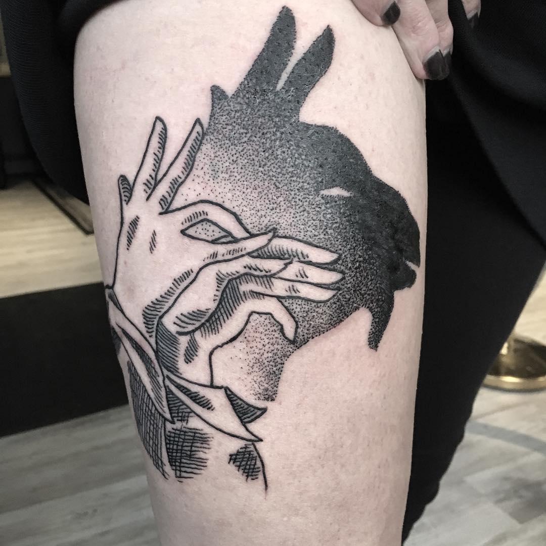 Shadow goat tattoo