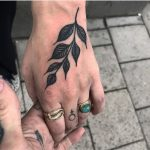 Simple black branch with leaves