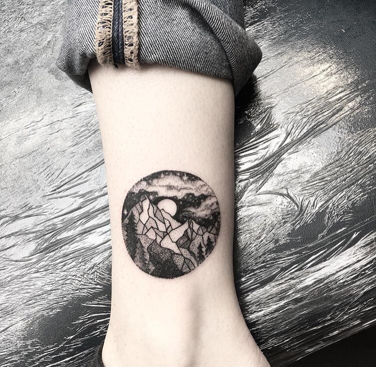 Single needle mountain tattoo by emily alice johnson