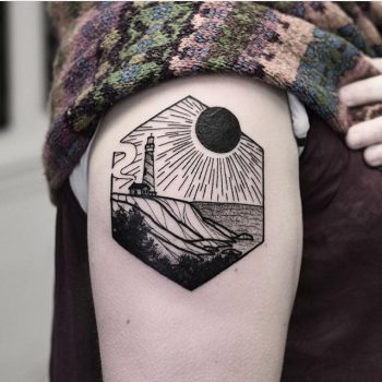 Solar eclipse tattoo by wagner basei