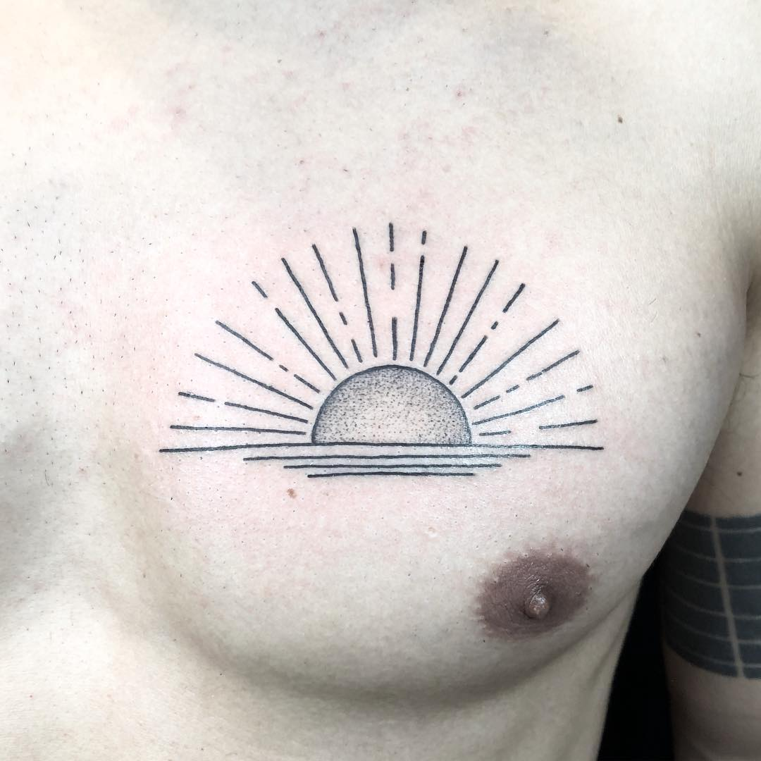 Sunrise over the water tattoo