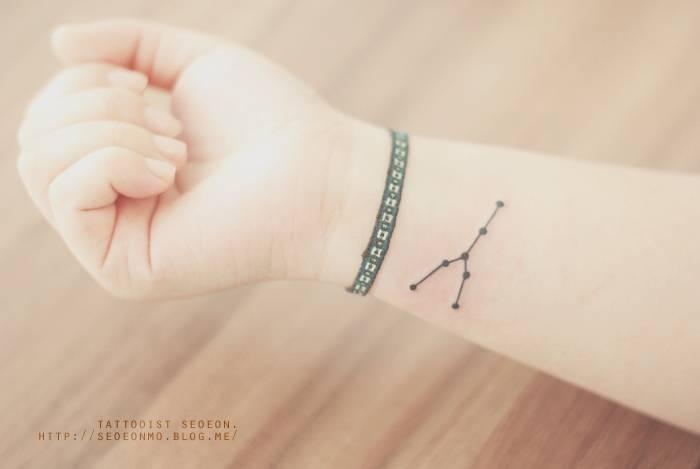 Taurus constellation tattoo on the inner wrist