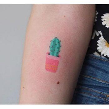 Tiny colorful cactus tattoo