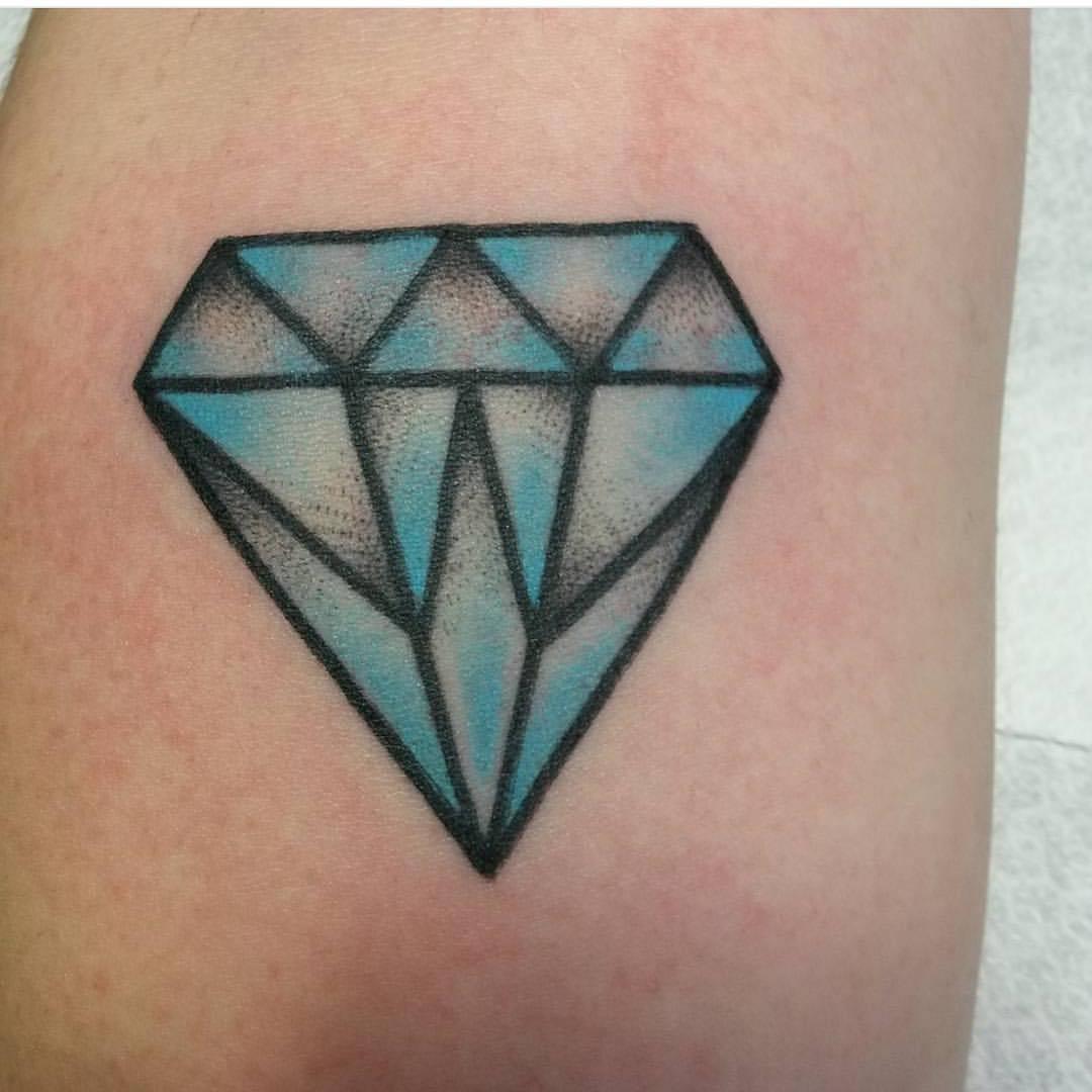 Traditional blue diamond tattoo by jeroen van dijk