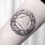 Triangle and wooden ornament tattoo