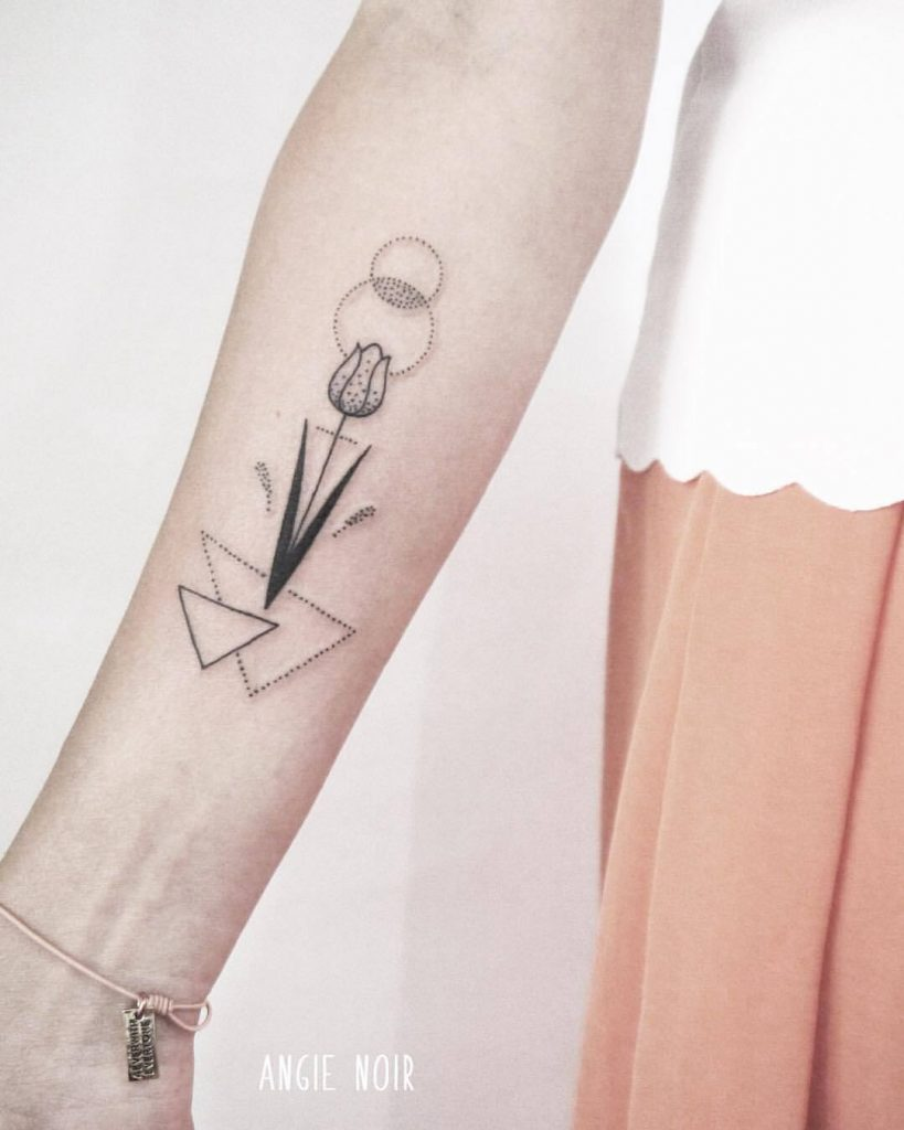 Tulip and geoemtric shapes tattoo by angie noir