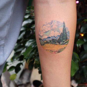 Van gogh's landscape tattoo