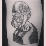 Woodcut hippocrate bust tattoo