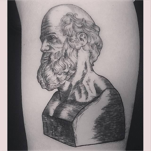 Woodcut Hippocrates bust tattoo