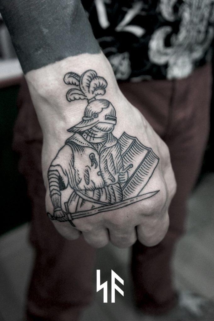 Woodcut medieval knight tattoo