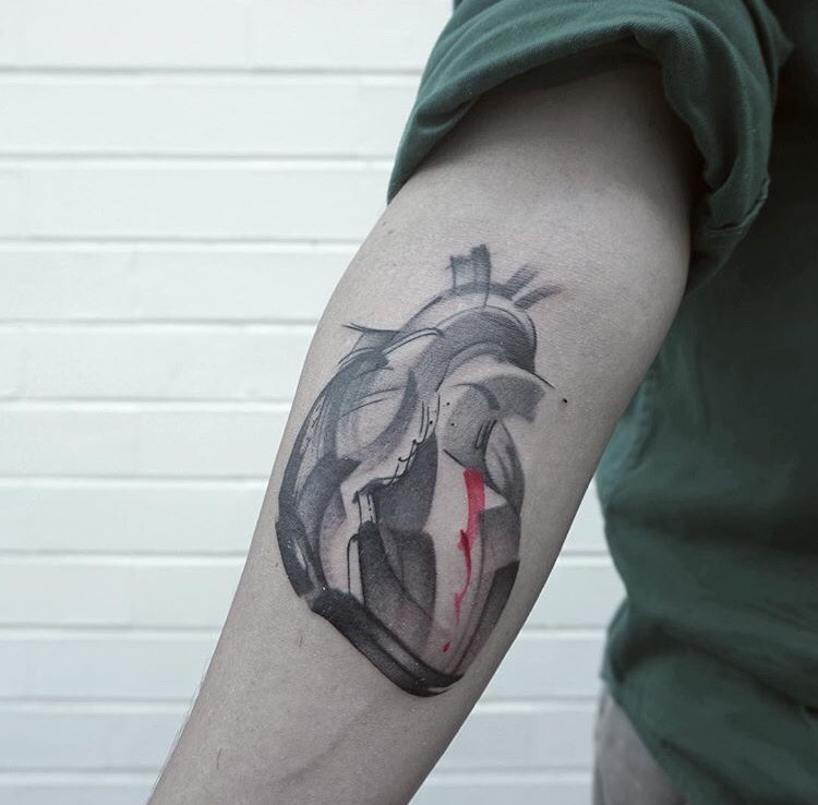 Abstract heart tattoo by lee stewart