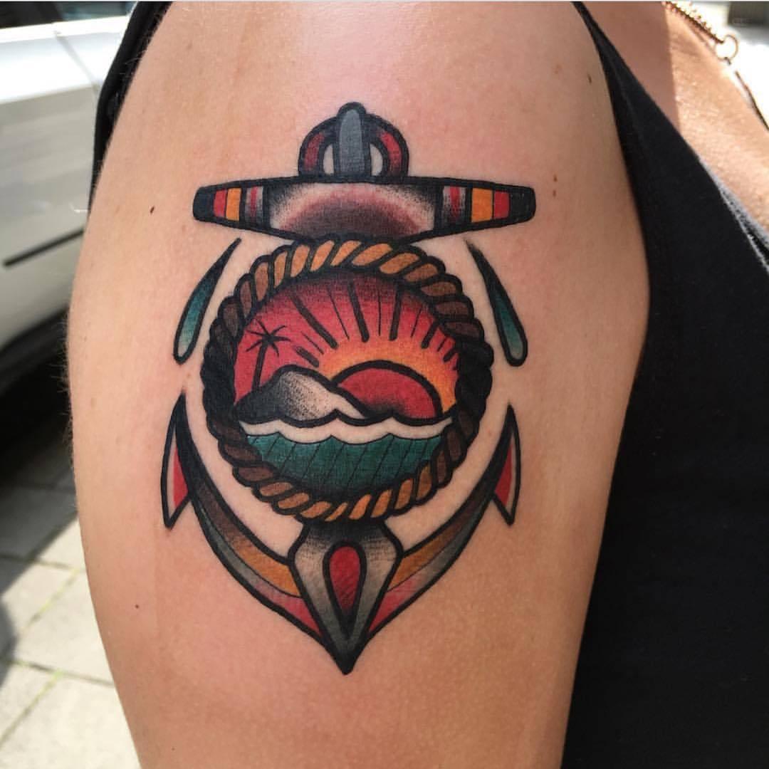 Anchor and landscape tattoo by jeroen van dijk