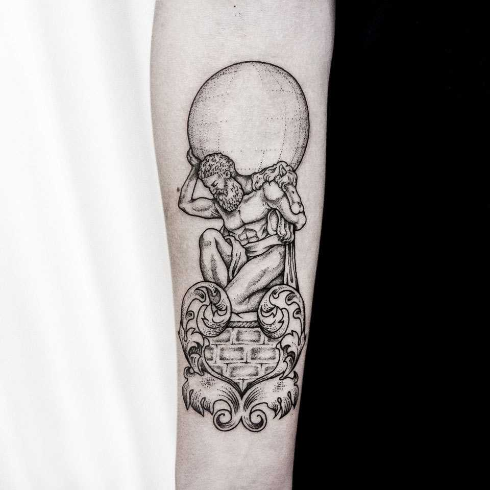 Atlas tattoo by dogma noir