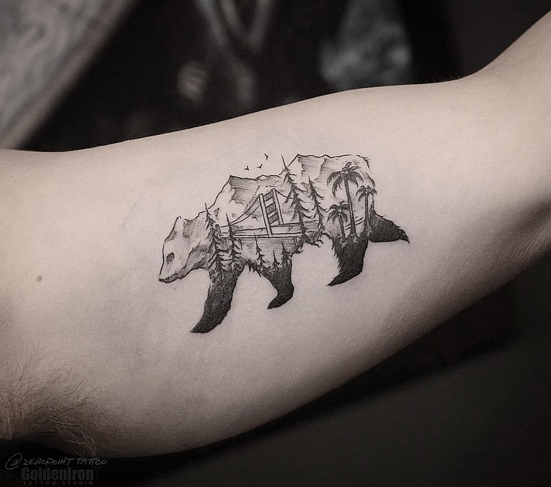Bear and landscape tattoo by andrew