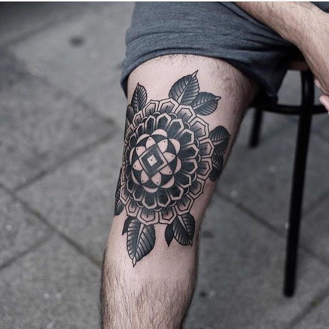 Black Floral Mandala On The Right Knee By Jonas Tattoogrid Net
