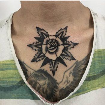 Black rose on the collarbone by jeroen van dijk