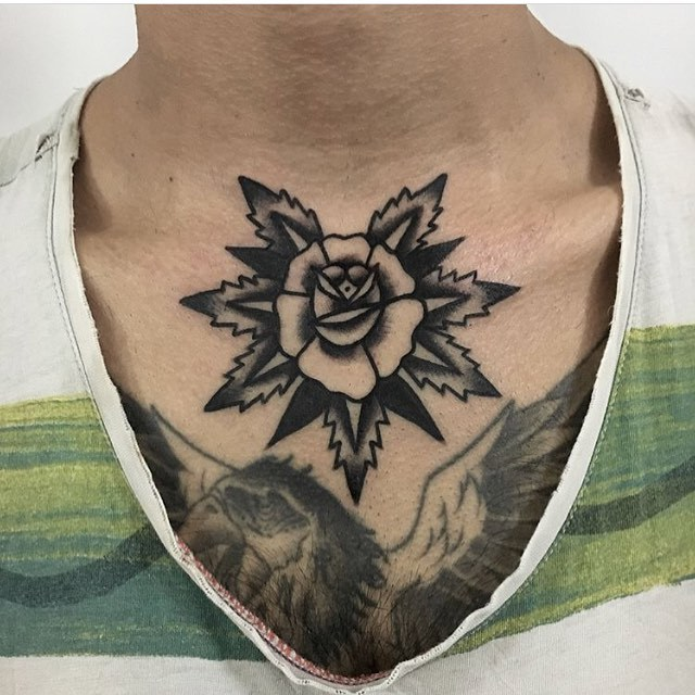 Black rose on the collarbone by jeroen van dijk