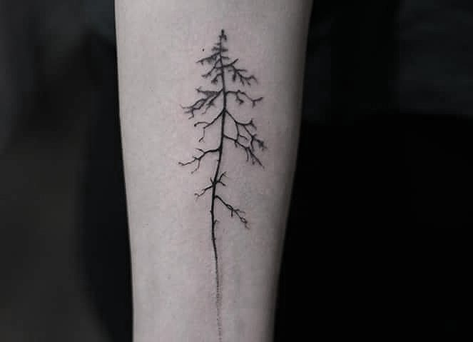 Black tree tattoo by lindsay april