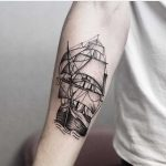 Blackwork ship tattoo by jonas ribeiro