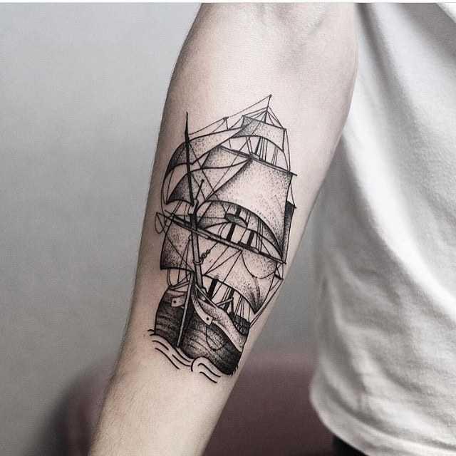 Blackwork ship tattoo by jonas ribeiro