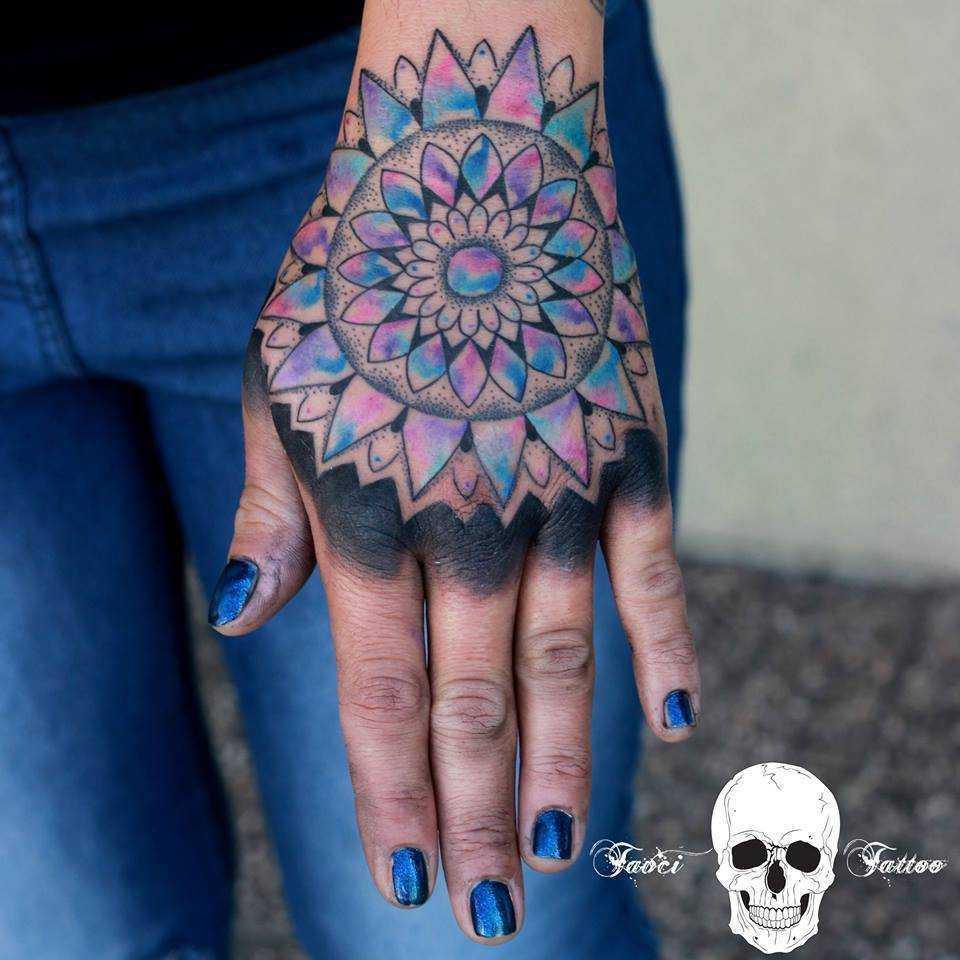 Blue and violet mandala tattoo