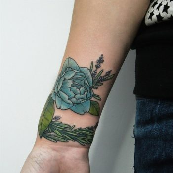 Blue rose and lavender tattoo