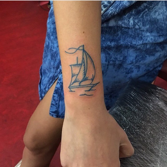 Blue ship tattoo by mikkel