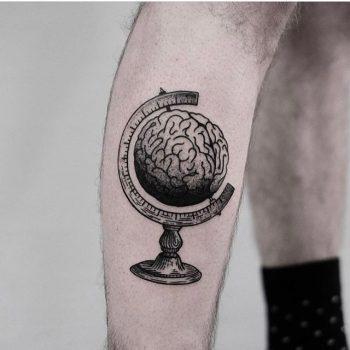 Brain globe tattoo by jonas ribeiro