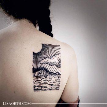 California coastal landscape tattoo