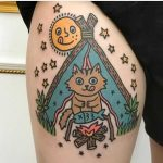 Camping cat tattoo