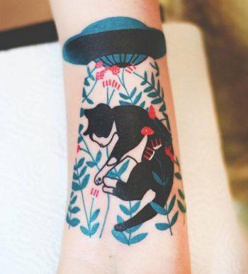 Cat alien abduction tattoo by joanna Świrska