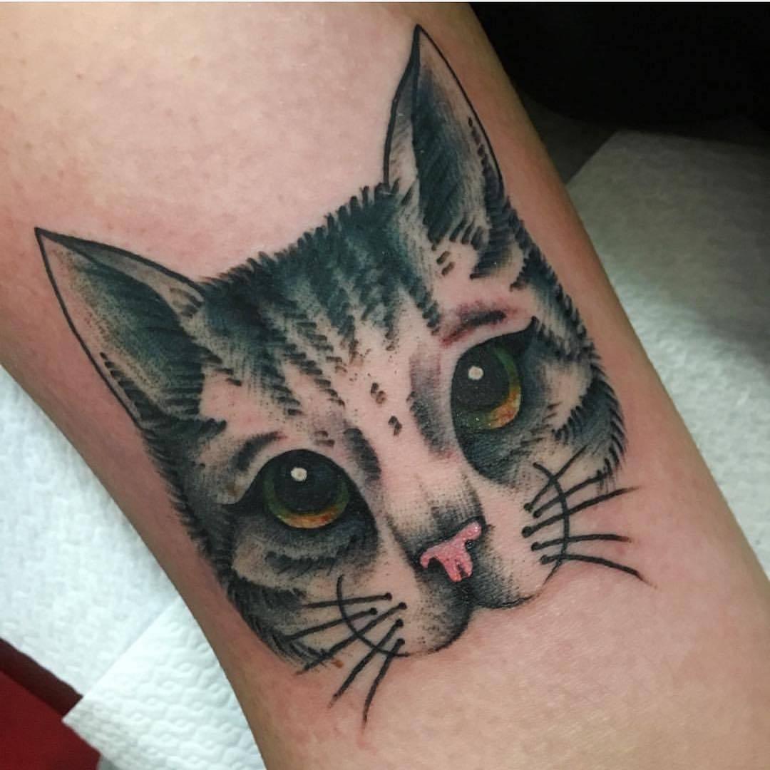 Cat face tattoo by jeroen van dijk