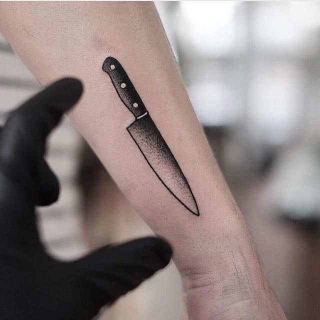 Chef knife tattoo by jonas ribeiro