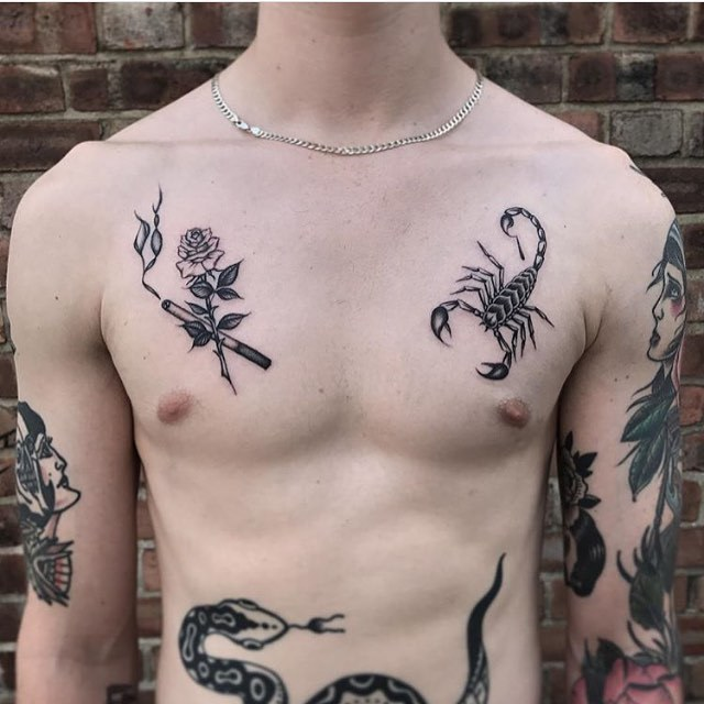 Cigarette and scorpion tattoos