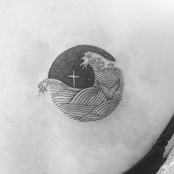 Circle wave tattoo on the back