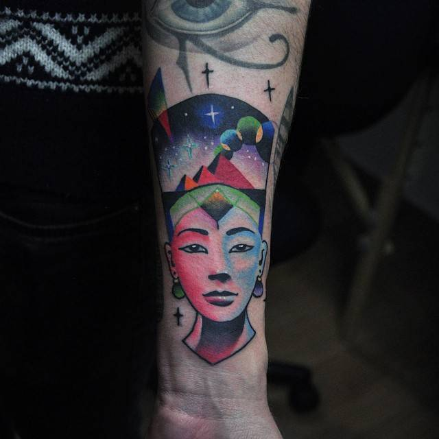 Colorful nefertiti tattoo