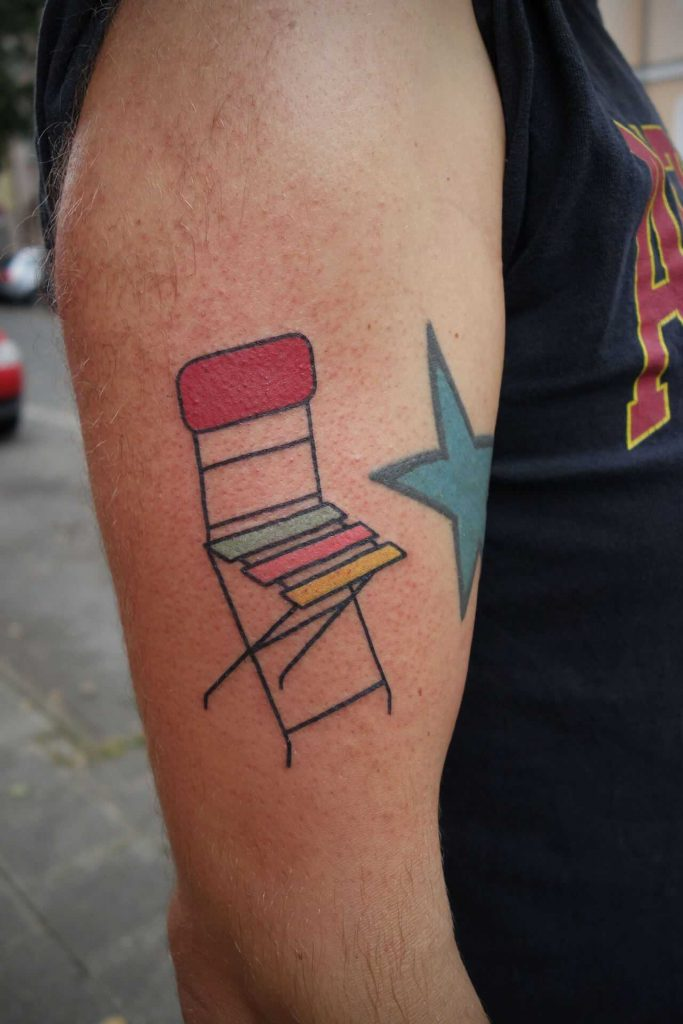 Colorful chair tattoo