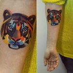 Colorful tiger head tattoo
