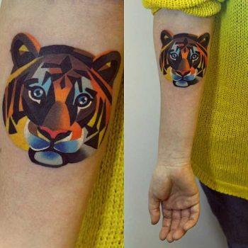 Colorful tiger head tattoo