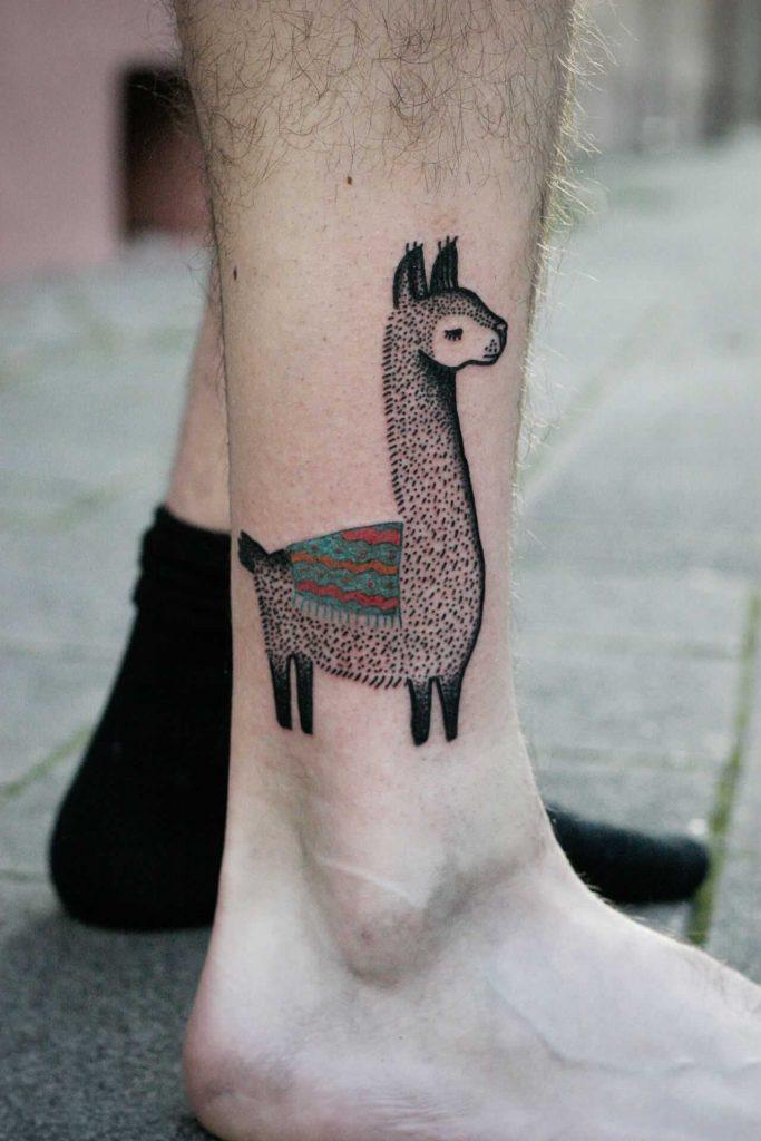 Cool llama tattoo