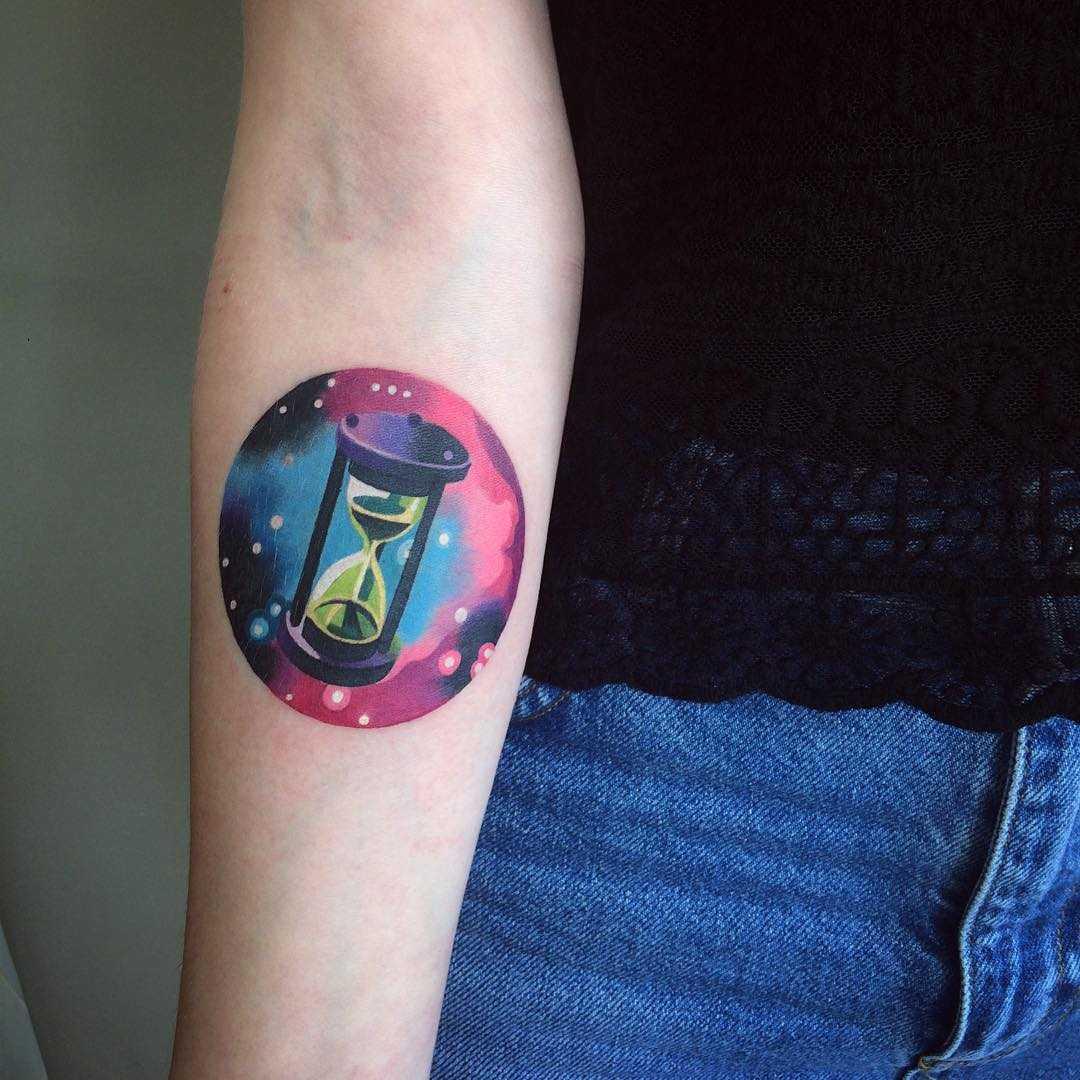 Cosmic hourglass tattoo by sasha unisex